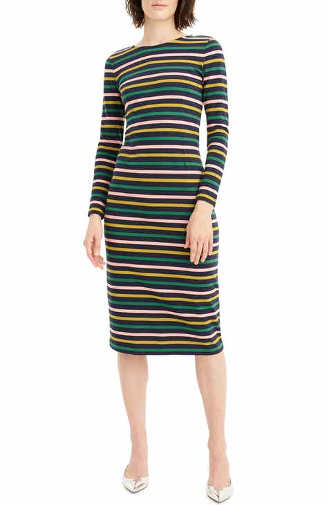 055c13ef372 J.Crew Stripe Long Sleeve Cotton Dress (Regular   Petite)
