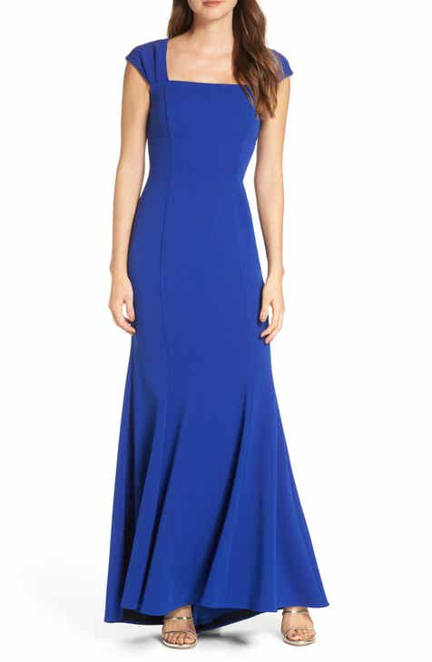 Eliza J Square Neck Scuba Crepe Evening Dress by ELIZA J