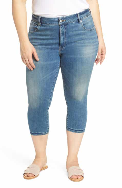Poetic Justice Corrine Release Hem Skinny Crop Jeans (Plus Size) by Poetic Justice