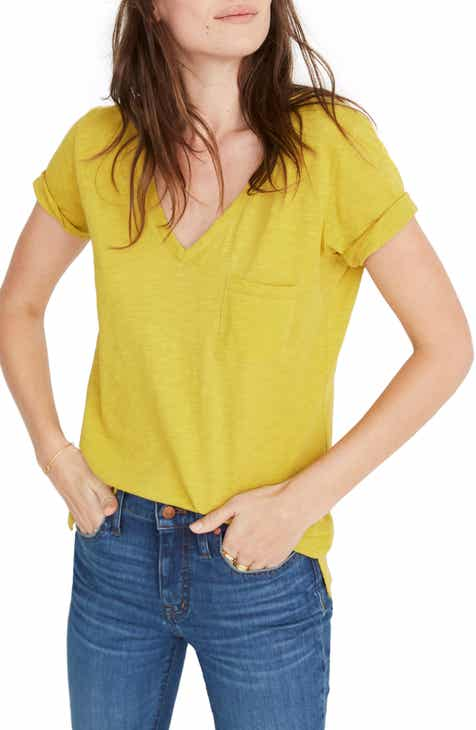 Madewell Whisper Cotton V-Neck Pocket Tee (Regular   Plus Size) 083d30b44