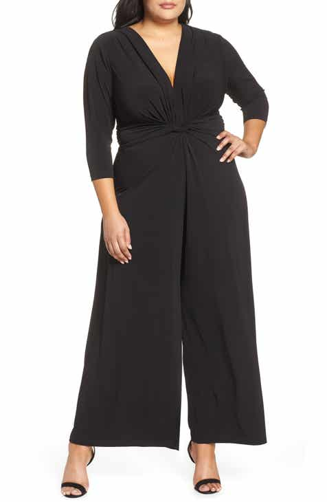 Eliza J Twist Wide Leg Jumpsuit (Plus Size) by ELIZA J