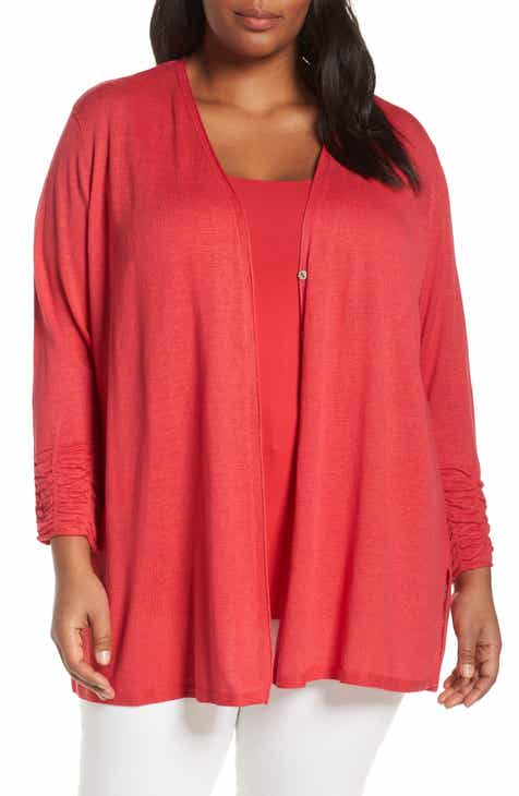 e38bfcee545 NIC+ZOE Ruched Sleeve Linen Blend Cardigan (Plus Size)