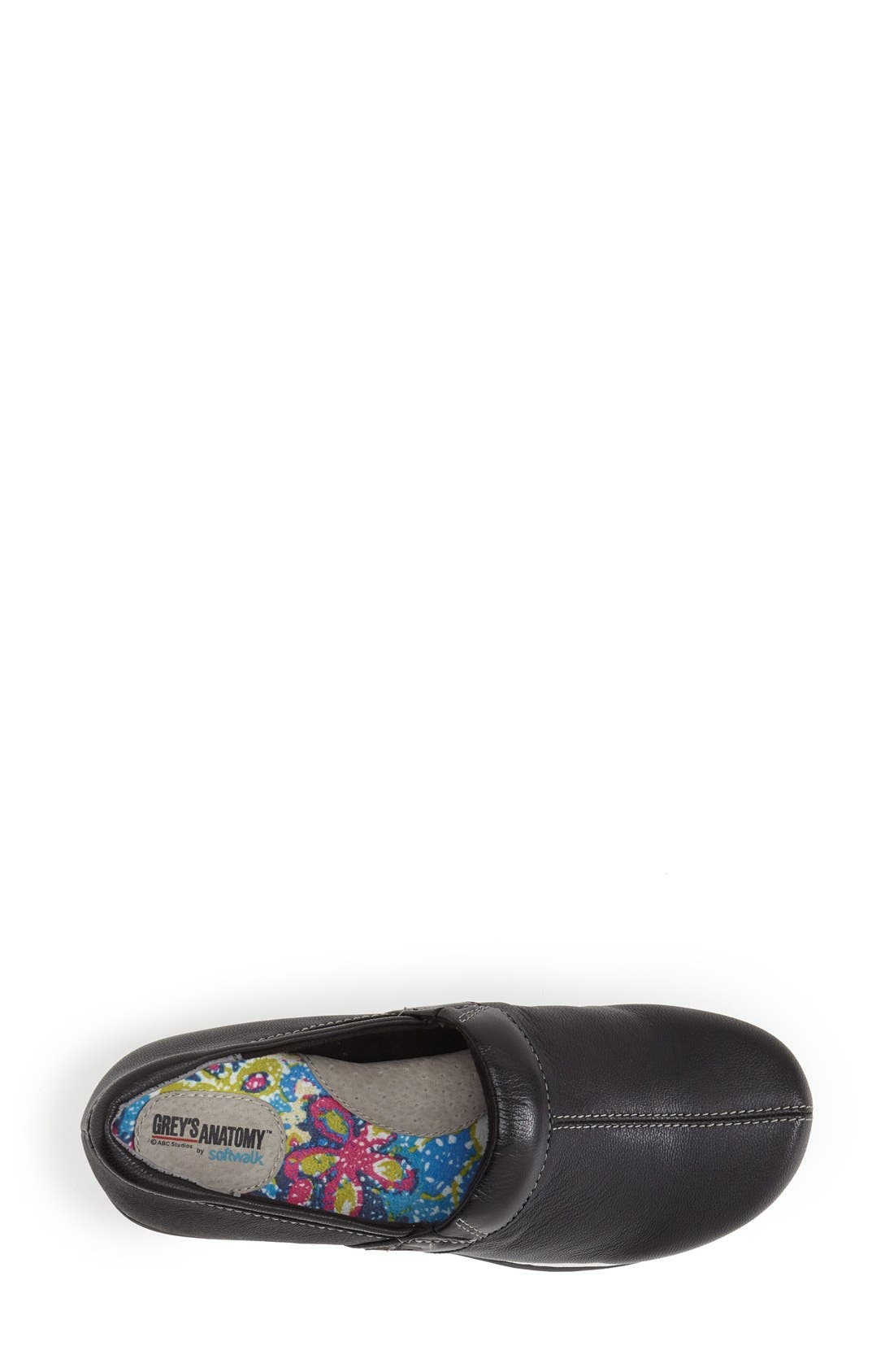 Grey's Anatomy<sup>®</sup> by SoftWalk<sup>®</sup> 'Meredith' Leather Clog,                             Alternate thumbnail 3, color,                             Black Tumbled Pro