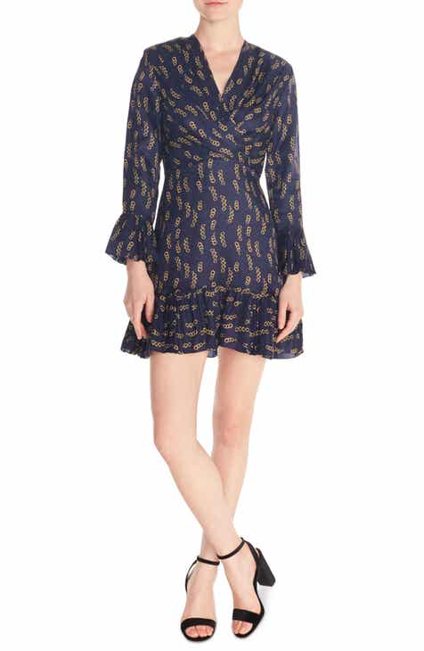Modern  Sandro Milly Chain Print Ruffle Detail Long Sleeve Mini Dress Purchase