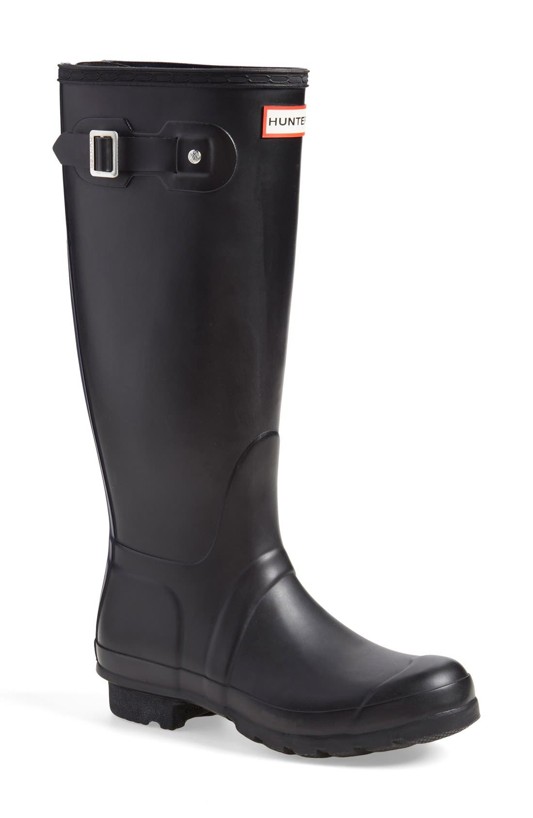 'Tall' Back Zip Rain Boot,                             Main thumbnail 1, color,                             Black/ Midnight