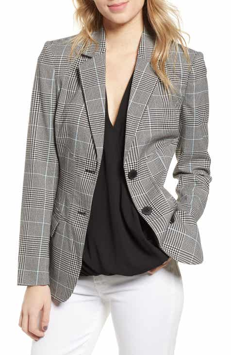 Halogen® Ruched Sleeve Stripe Blazer (Plus Size) by HALOGEN