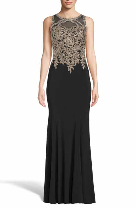 Xscape Golden Embroidered Bodice Evening Dress (Regular & Plus Size) by XSCAPE