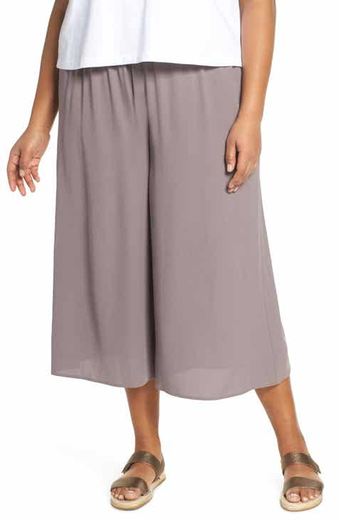 182170ebd4a Eileen Fisher Wide Leg Crop Silk Pants (Plus Size)
