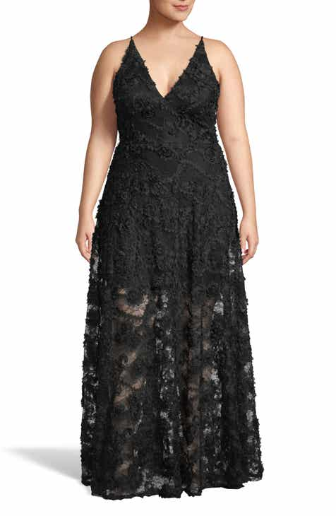 Xscape 3D Lace V-Neck Evening Dress (Plus Size)