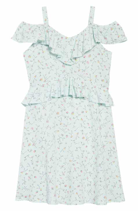 BCBG Floral Print Cold Shoulder Ruffle Dress (Big Girls)