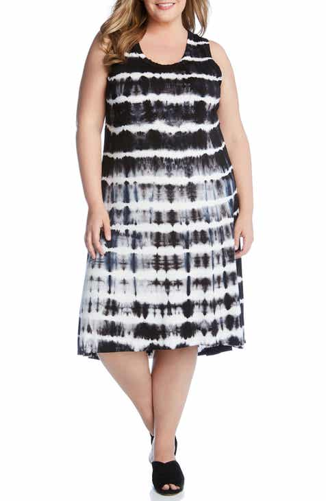 Karen Kane Tie Dye Stripe High/Low Dress (Plus Size)
