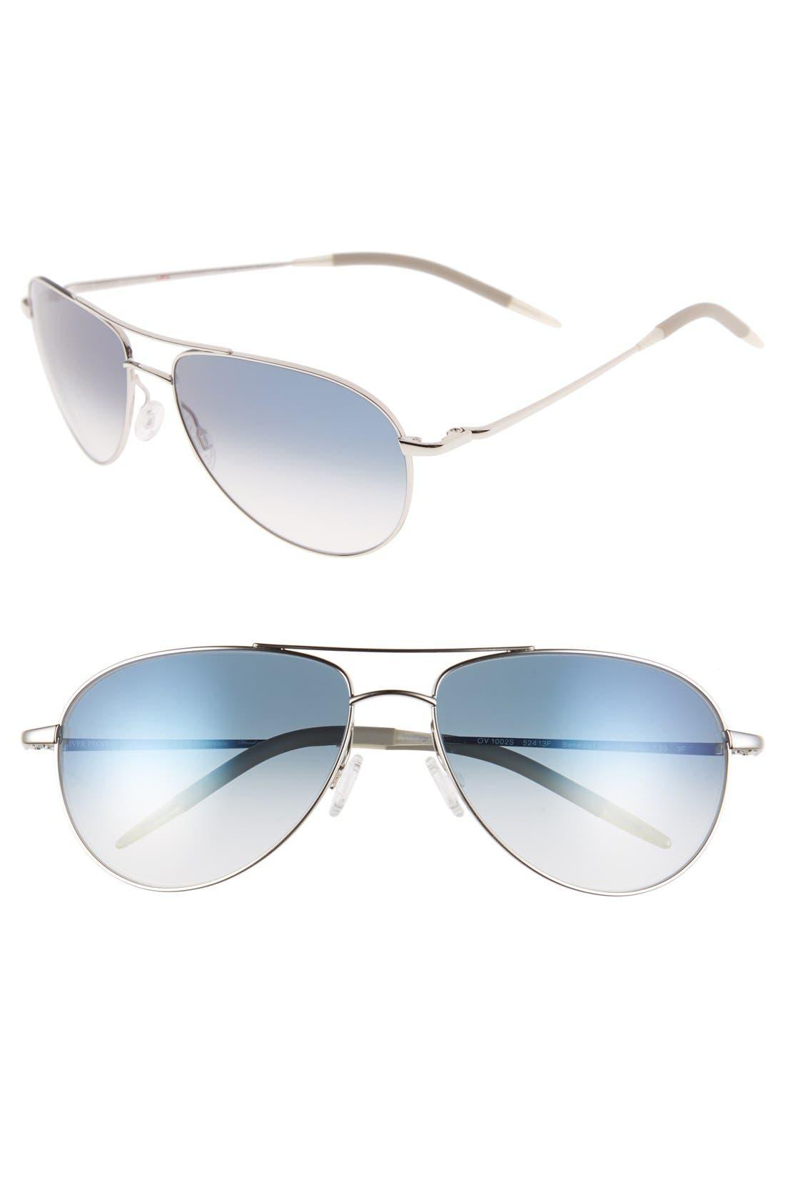 'Benedict' 59mm Gradient Aviator Sunglasses,                             Main thumbnail 1, color,                             Silver/ Chrome Sapphire