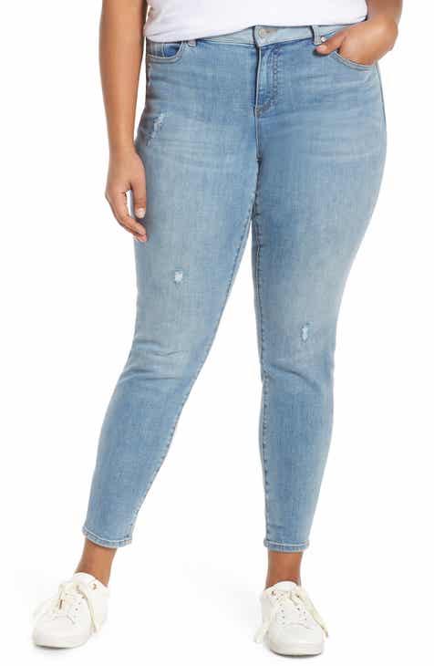 ebbbdc137a90 Vince Camuto Indigo Contrast Waist Skinny Jeans (Spectrum Blue) (Plus Size)