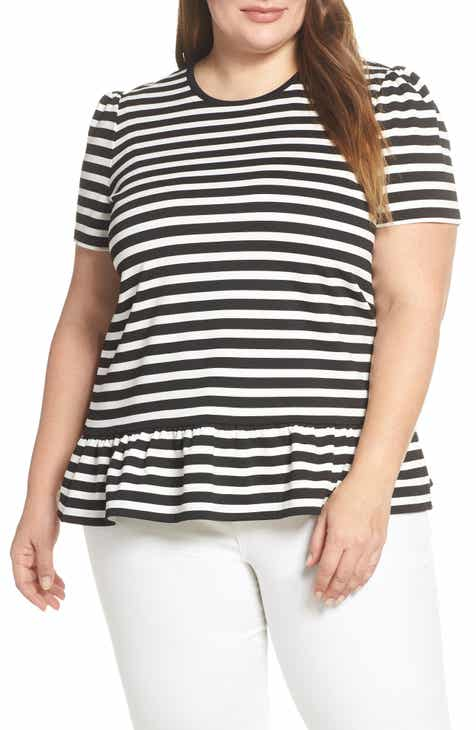 MICHAEL Michael Kors Ruffle Hem Stripe Top (Plus Size)