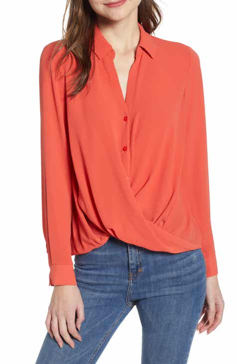 3b4c86216a42d All in Favor Patterned Drape Front Blouse