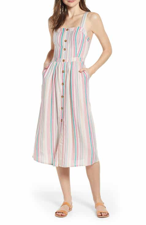 BP. Stripe Button Front Midi Dress (Regular & Plus Size) by BP