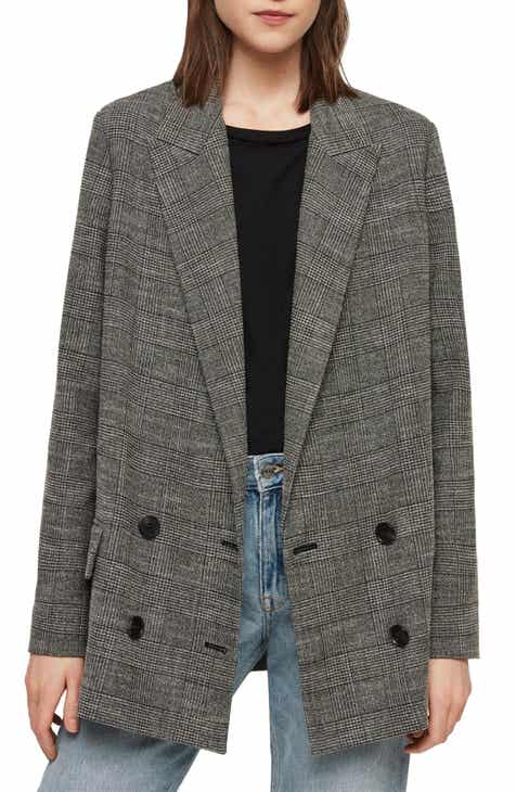 ALLSAINTS Helei Windowpane Plaid Oversize Blazer by ALLSAINTS