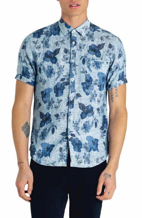 Good Man Brand Waimea Slim Fit Floral Print Linen Sport Shirt