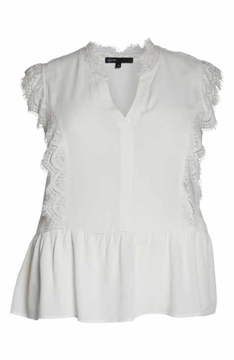 ef68fb824b024a Gibson x International Women s Day Hoang-Kim Eyelash Lace Detail Sleeveless  Top (Plus Size)