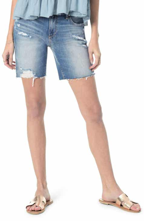 Liverpool Frayed Hem Pull-On Denim Shorts by LIVERPOOL