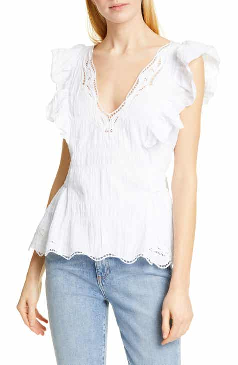 7d547cb903309 Tanya Taylor Connie Lace Detail Stretch Cotton Blouse (Regular   Plus Size)