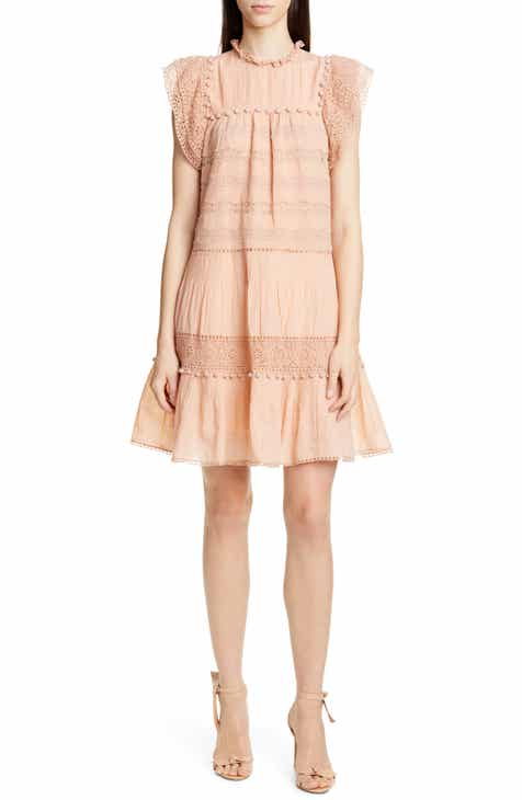 Ulla Johnson Nora Crochet Trim Trapeze Dress