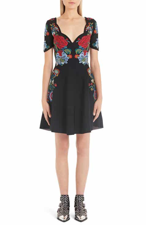 Alexander McQueen Floral Jacquard Fit & Flare Sweater Dress