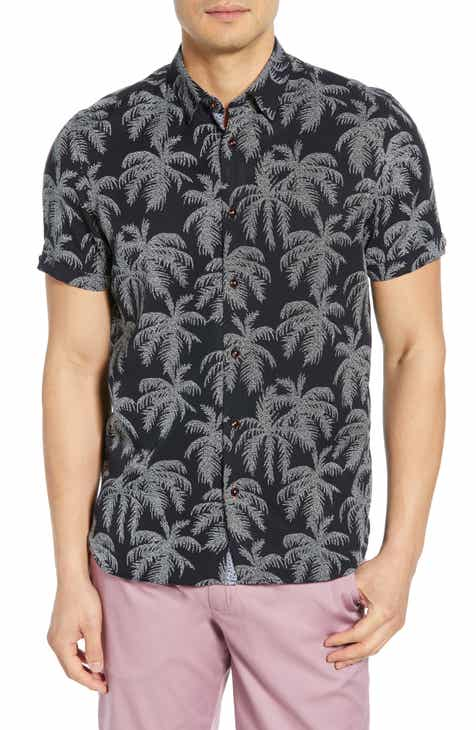 3f7307c0d Ted Baker London Palmcol Slim Fit Palm Print Sport Shirt