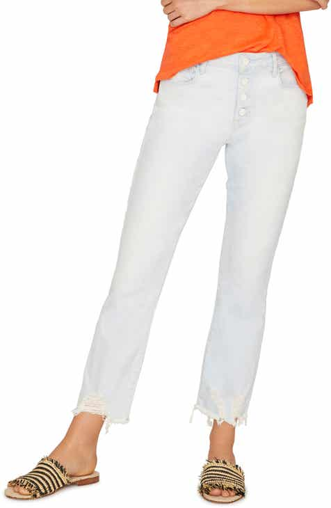 a2c46cdd Sanctuary Connector Kick Button Fly Chewed Hem Jeans (White Sand)