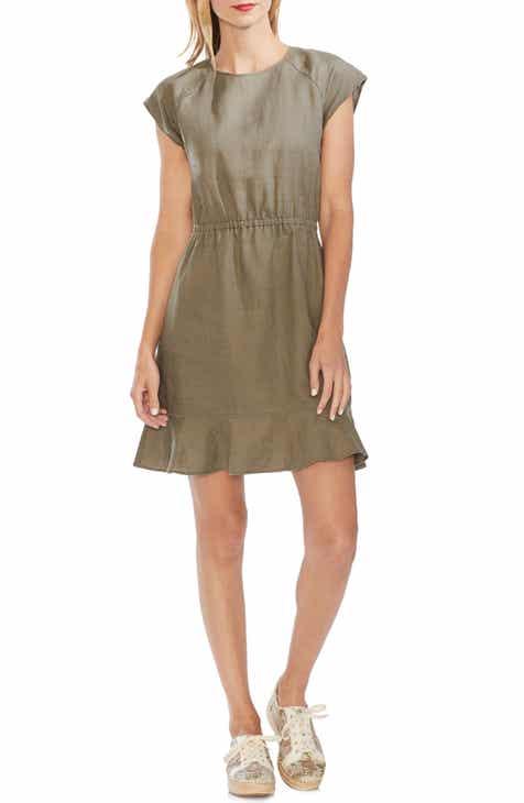 Vince Camuto Extended Shoulder Linen Dress