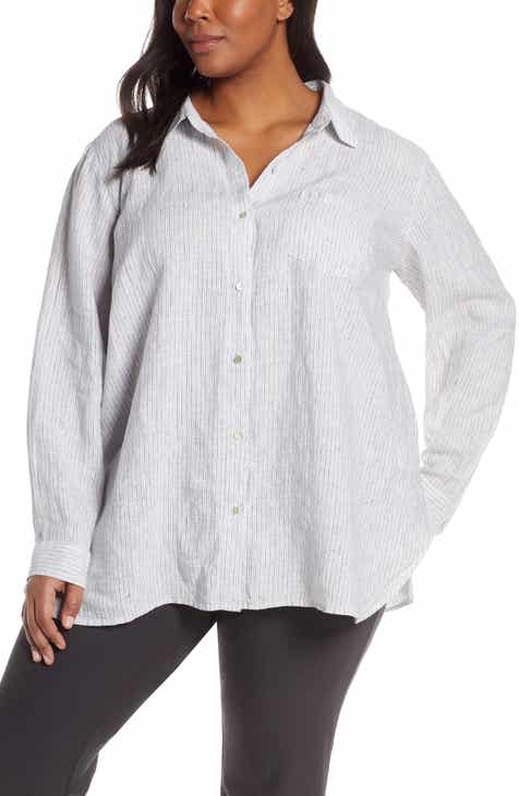 4836d1933b04b Eileen Fisher Classic Collar Organic Linen Shirt (Plus Size)