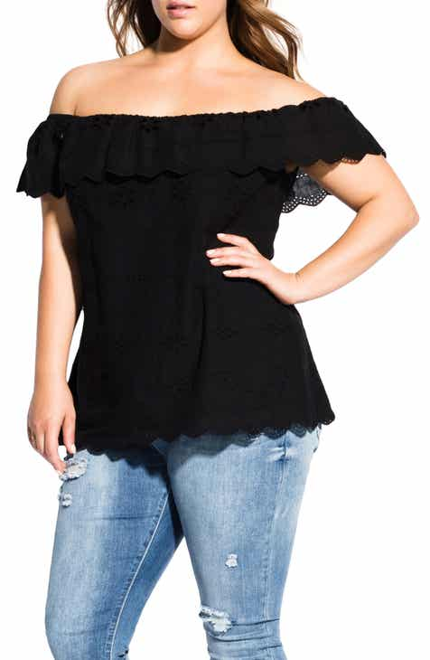 2b90b876ea49f City Chic Wild Embroidered Cold Shoulder Blouse (Plus Size)