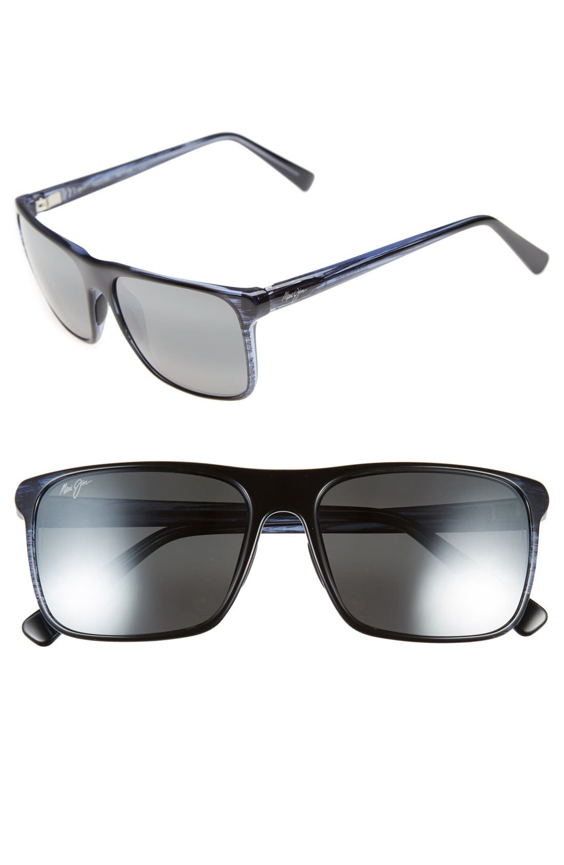Flat Island 58mm PolarizedPlus<sup>®</sup> Sunglasses,                             Main thumbnail 1, color,                             Blue Stripe/ Neutral Grey