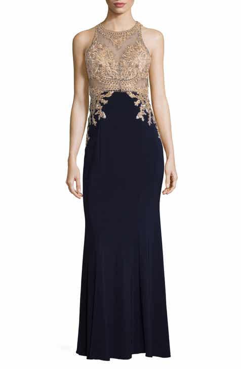 f2244f641f82 Xscape High Neck Embroidered Bodice Evening Dress