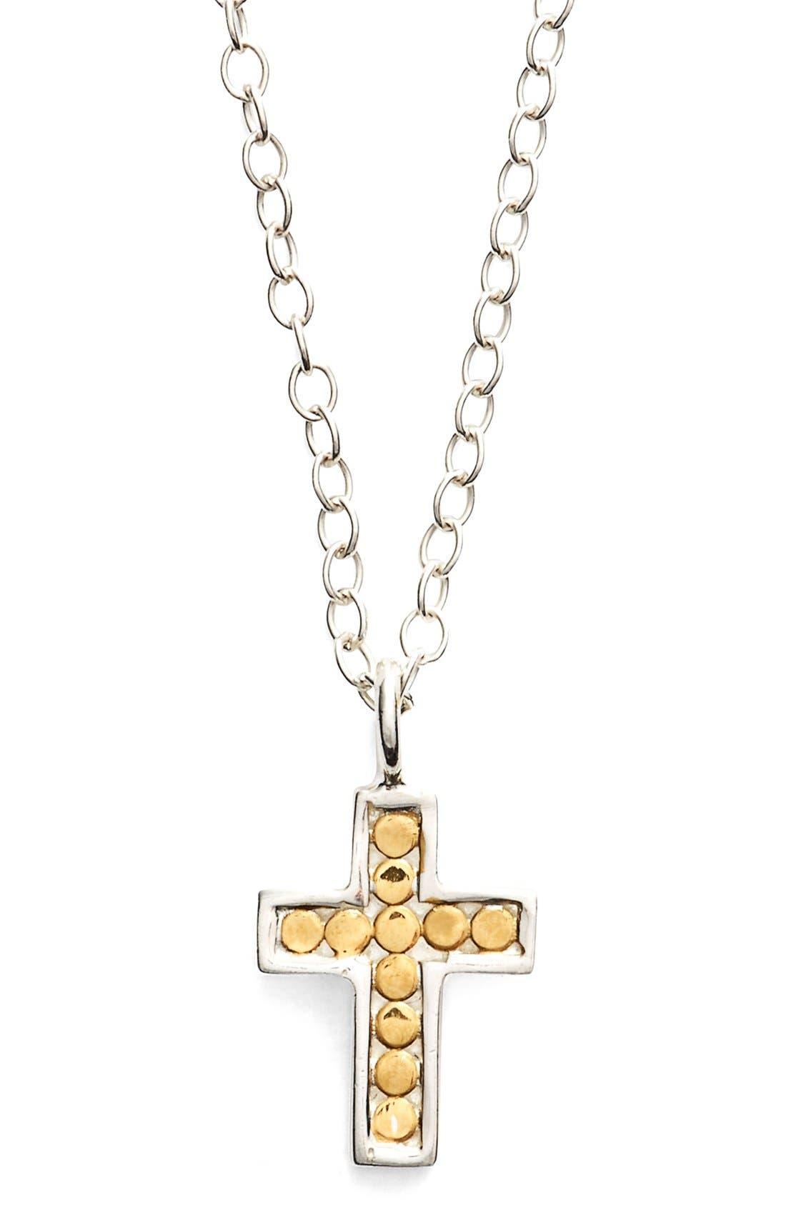 'Gili' Reversible Mini Cross Necklace,                         Main,                         color, Gold/ Silver