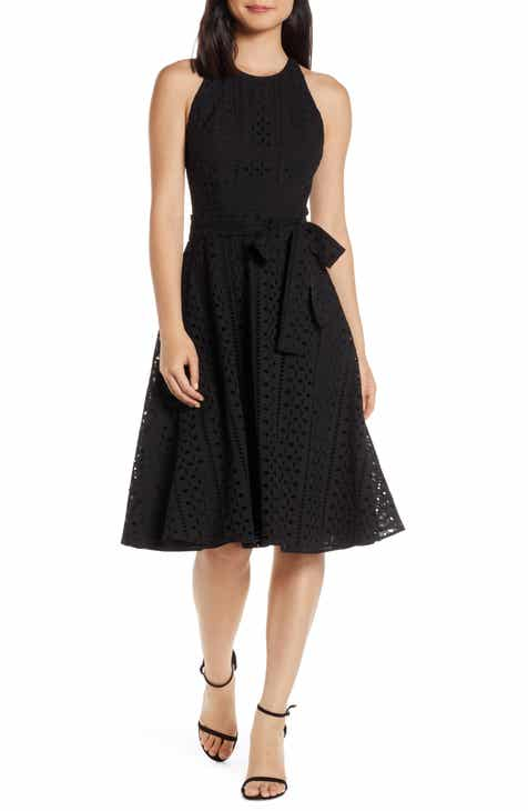 Charles Henry Belted Fit & Flare Eyelet Midi Dress (Regular & Petite) by CHARLES HENRY