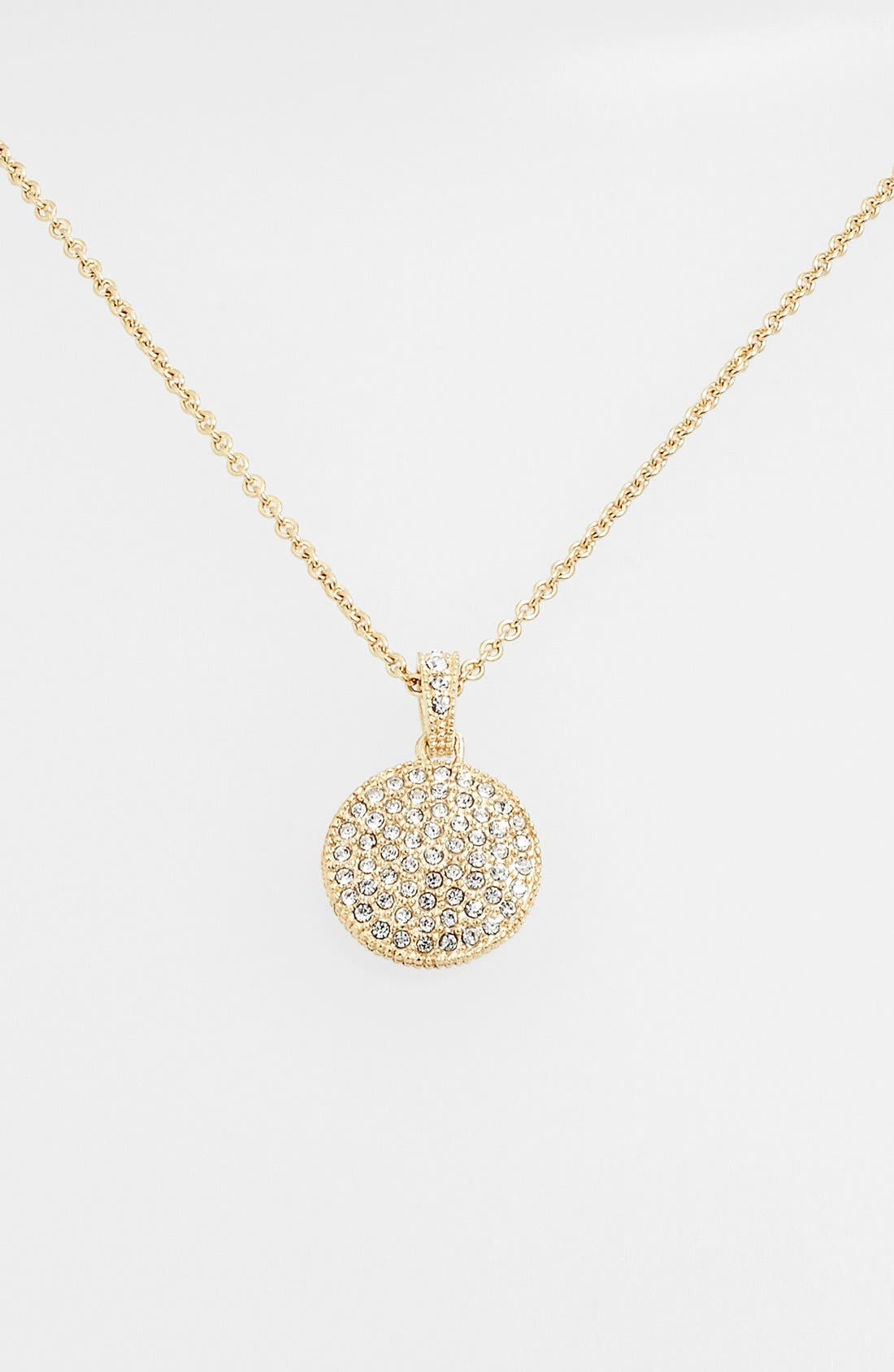 Reversible Pavé Pendant Necklace,                         Main,                         color, Gold Disc