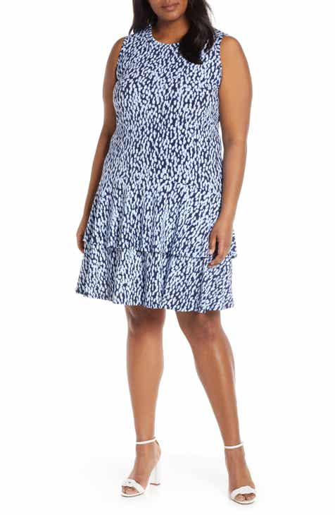 3fe9110a536 MICHAEL Michael Kors Double Ruffle Sleeveless Shift Dress (Plus Size)