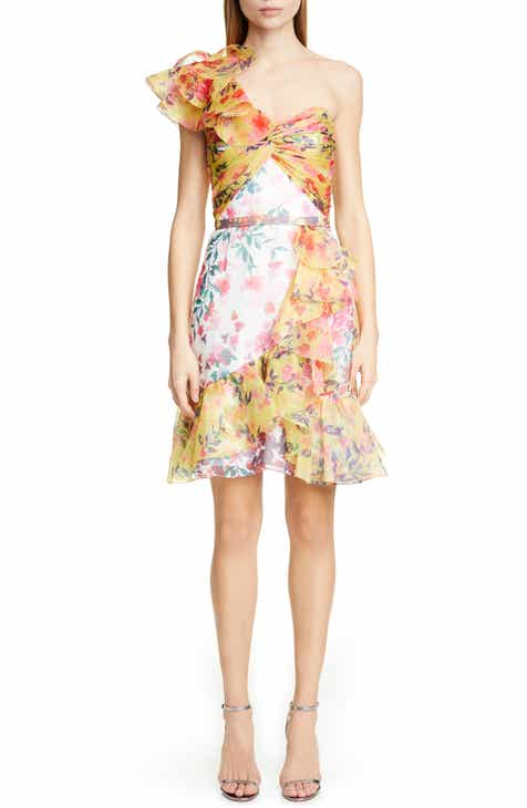 Marchesa Notte Floral Print One-Shoulder Cocktail Dress