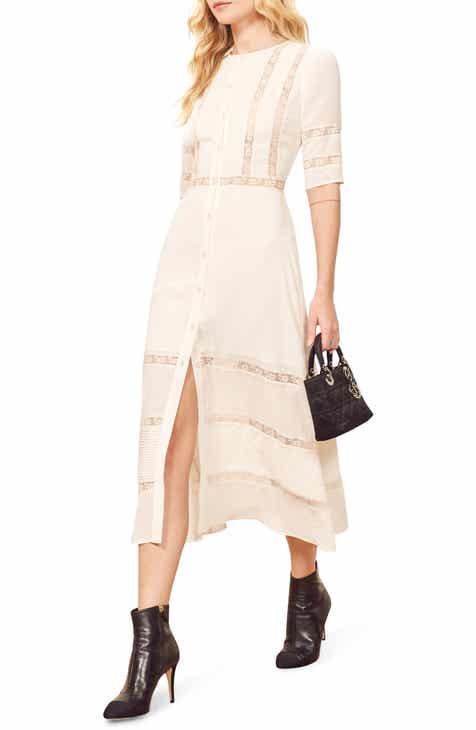 Reformation Surrey Lace & Pintuck Shirtdress