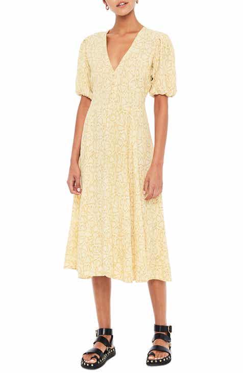 FAITHFULL THE BRAND Delia Python Print Midi Dress