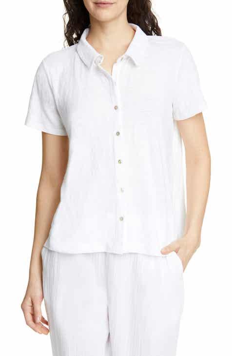 bdfc049e2cd5b3 Eileen Fisher Short Sleeve Organic Linen Button Up Blouse