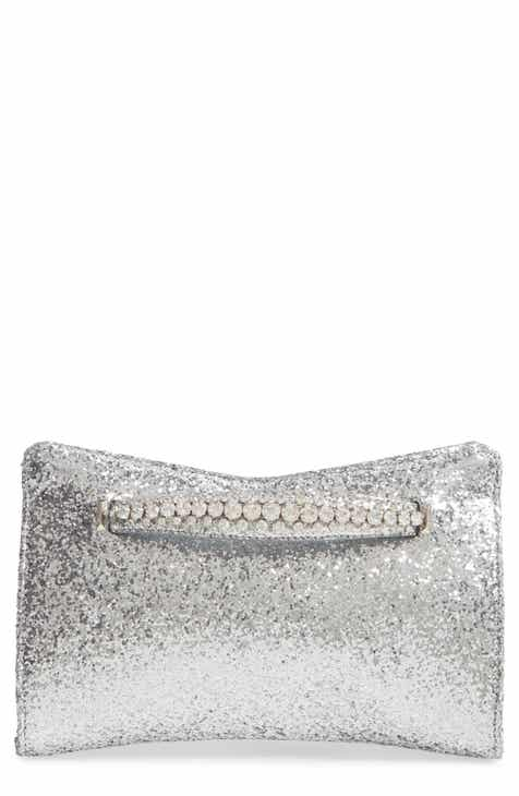 147b682caa38 Jimmy Choo Galactica Glitter Clutch with Crystal Bracelet Handle