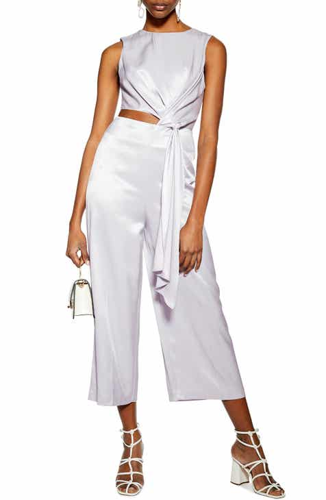 Topshop Sleeveless Satin Jumpsuit by TOPSHOP