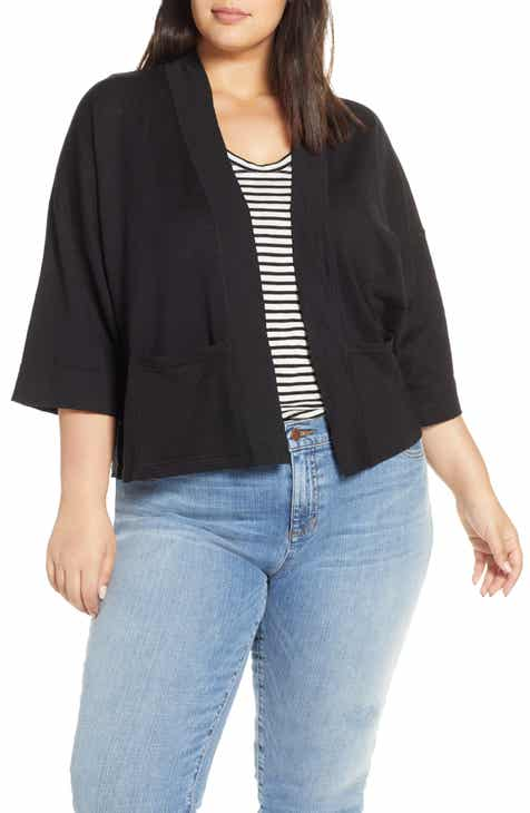 Eileen Fisher Organic Linen Blend Crop Cardigan (Plus Size) by EILEEN FISHER