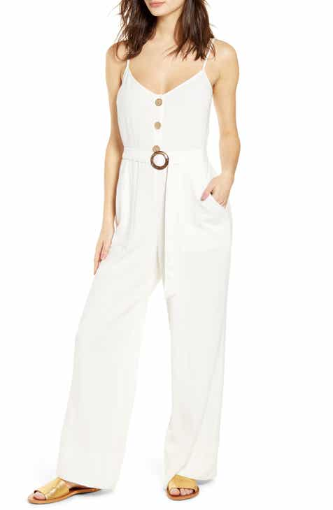 Band of Gypsies Gia Belted Linen Blend Jumpsuit