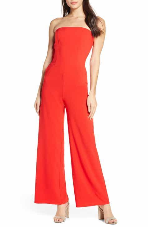 40a73e40b703 Fraiche by J Strapless Wide Leg Jumpsuit.  96.00. Product Image. RED  STRIPE  BLACK STRIPE