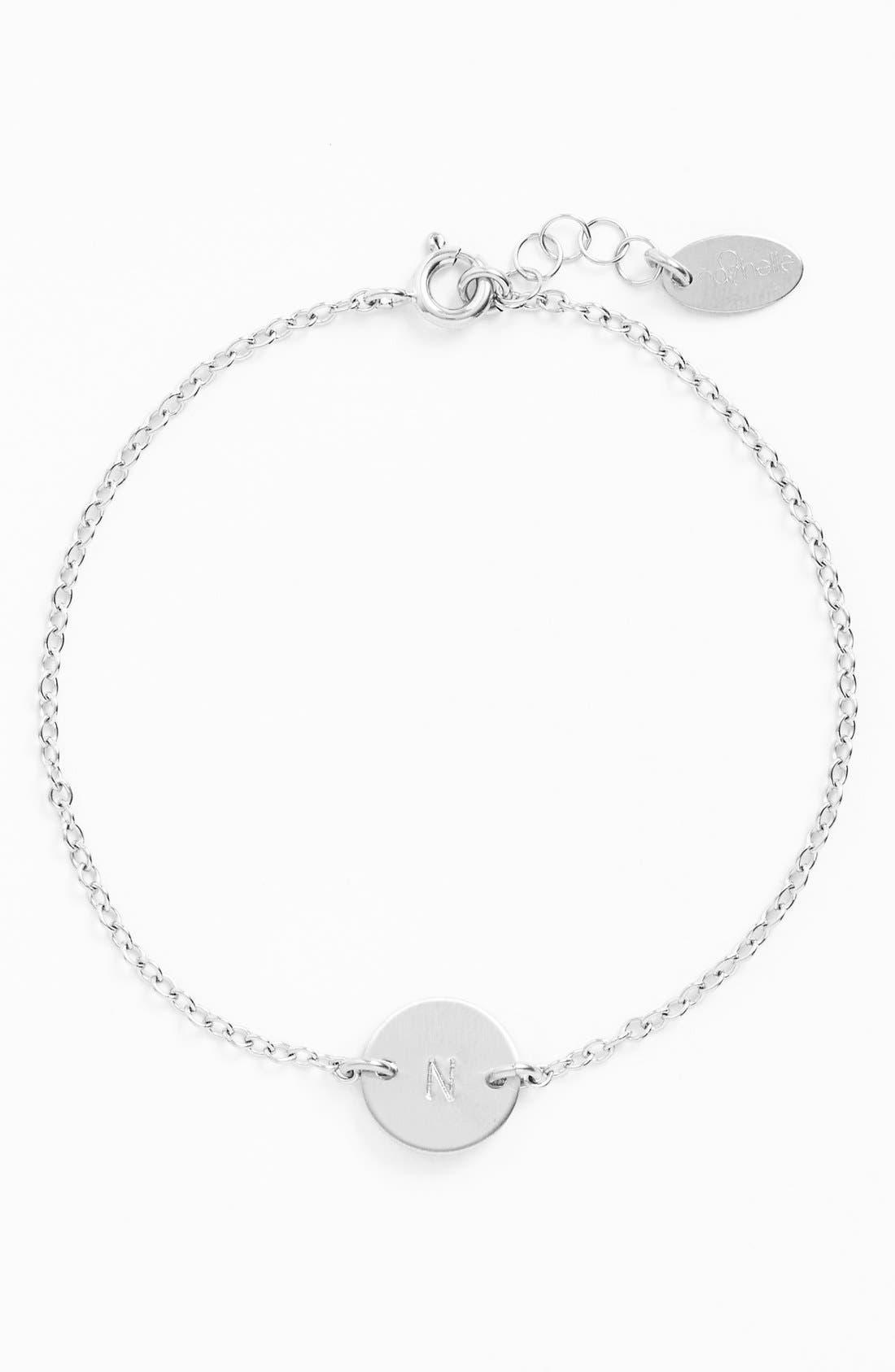 Sterling Silver Mini Initial Disc Bracelet,                         Main,                         color, Sterling Silver N