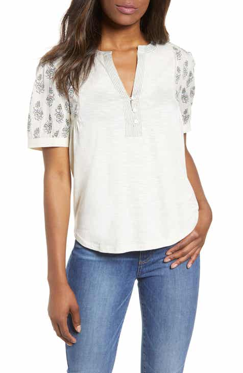 1b1f5817 Lucky Brand Mixed Media Embroidered Top