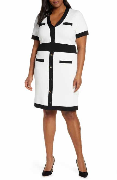 db638f3fe76 ELOQUII Button Detail Contrast Sweater Dress (Plus Size)